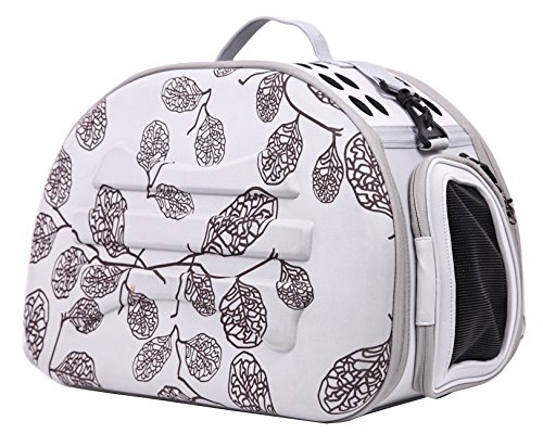 Narrow Shelled Lightweight Collapsible Military Grade Transportable Designer Pet Carrier, Light Grey and Burgundy Leaf Pattern, One Size