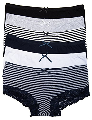 6 Pack Body Embrace Women's Cotton Hipsters (Large, Stripes/Solids)