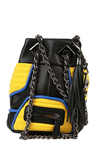LA CARRIE BAG Borsa Biker Lcb Small Ecopelle Giallo Nero Art 161-S-162 162 P16