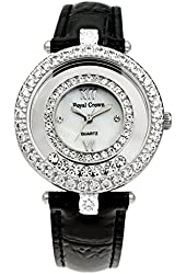 Royal Crown Women's Watches Langii-3628l Black Genuine Leather Strap Quartz Mother of Pearl Dial