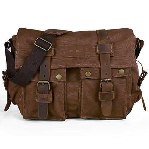 Peacechaos Messenger Bag Leather Canvas Shoulder Bookbag Laptop Dslr Slr Camera