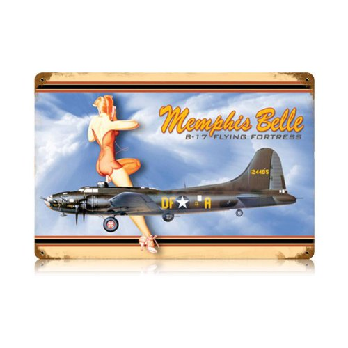 Memphis Belle B-17 Flying Fortress Home Vintage Metal Sign 18 X 12 Steel Not Tin