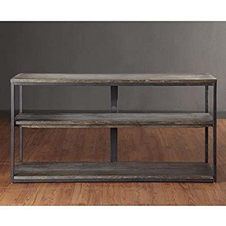 Media Entertainment Console with Handcrafted Reclaimed Wood Look