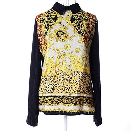 Toptie Vintage Collar Totem Printed Zipper Chiffon Shirt Blouse Top Black-L