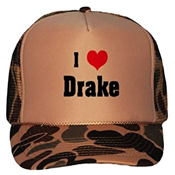 I Love/Heart Drake Adult Brown Camo Mesh Back Hat / Baseball Cap