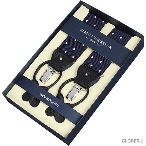 Albert Thurston(アルバートサーストン) クリップ・ボタン兼用サスペンダー 40mm ドット ネイビー・ホワイト 【正規販売店】