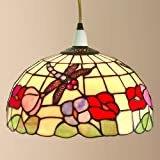 Loxton Lighting - Ceiling Lamp Shade - Dragonfly, Tiffany Style Dome - Beige, 30cm