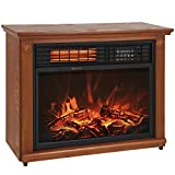 best choice products large room infrared quartz electric fireplace heater honey oak finish w remote