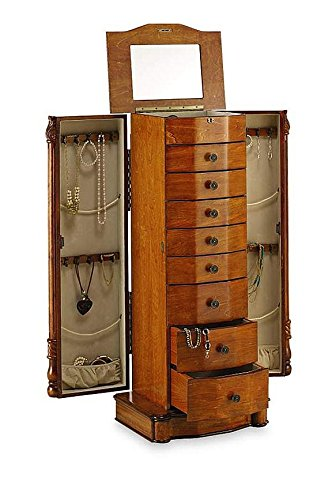 Large floor standing drawer wooden jewelry armoire with