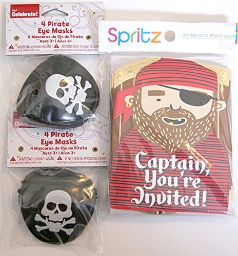 Pirate Party Pack - Set of 8 Invitations, Thank You Cards, and Eye Patches - 1