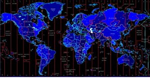 Wandtattoo bunt ME411 Weltkarte mit Zeitzone 180 x 93 cm   Bewertungen