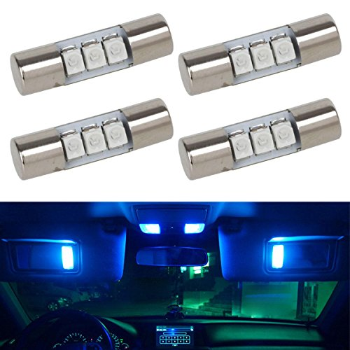 Partsam 4pcs Blue 3-3528-SMD 23mm Festoon LED Bulbs 12V for Car Trunk Interior Sun Visor Vanity Mirror Lights Lamps for Nissan/Infiniti etc. (Sun Visor For 2005 Scion Tc compare prices)
