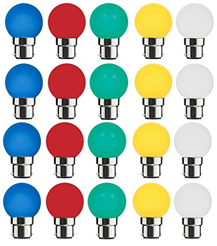 0.5 Watt Multicolor Led Bulbs (Pack of 20)