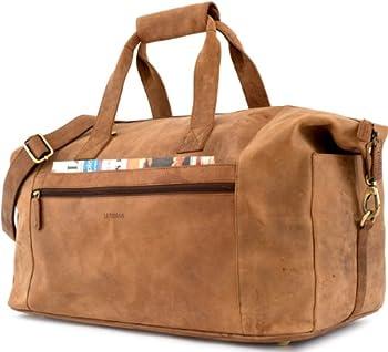 LEABAGS DUBAI Genuine Leather Vintage Travel Weekender Holdall Sports Bag 2