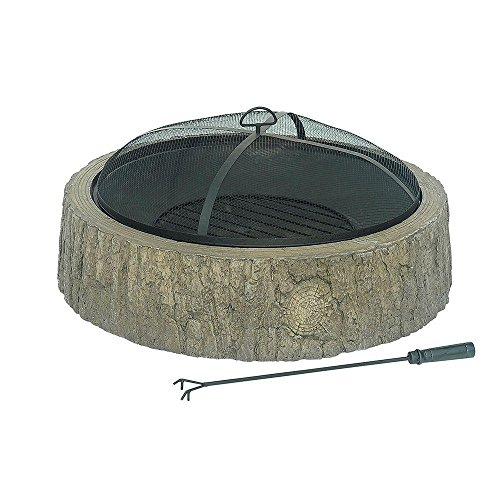 Sunjoy 34 in. Faux Wood Backwoods Fire Pit (Build In Grill compare prices)