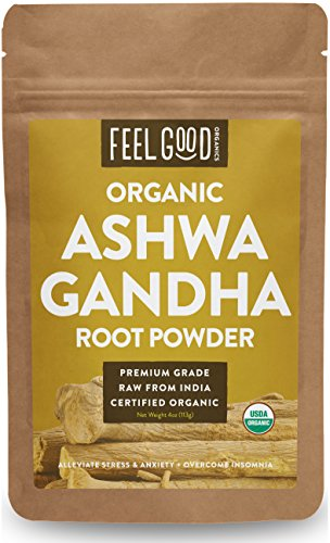 Organic Ashwagandha Root Powder - 4oz Resealable Bag - 100% Raw From India - by Feel Good Organics