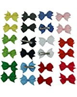 """Janecrafts 12 Pairs 2"""" Solid Grosgrain Pinwheel Pigtail Hair Bow Clips Mix 12 Color"""