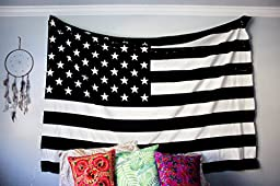 Jaipur Handloom American Flag Intricate tie dye Design Indian Bedspread Magical Thinking Tapestry 54x84 Inches,(140x210cms) Black & White