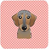 "Caroline's Treasures BB1233FC Checkerboard Pink Wirehaired Dachshund Foam Coaster (Set Of 4), 3.5"" H X 3.5"" W,..."
