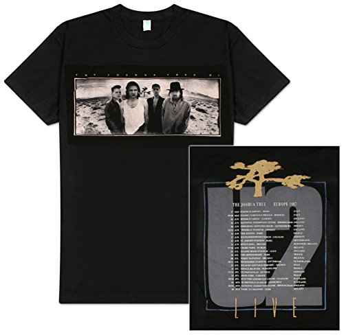 U2 'Joshua Tree' Black 2-sided White Mens T-shirt 0