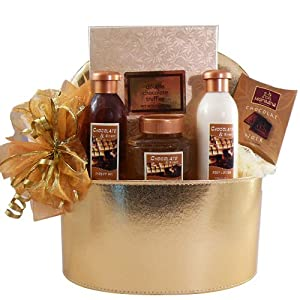 Art of Appreciation Gift Baskets   Chocolate Truffle Spa Bath and Body Gift Box Set