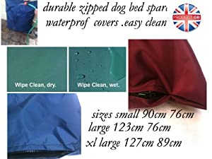 """durable High Quality medium 36""""x30"""" Waterproof Pet Dog Bed (Cover only) - Blue - Made in the UK"""