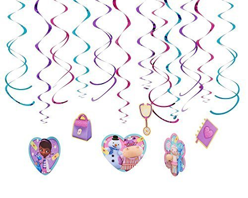 Diseny Doc McStuffins Party Foil Hanging Swirl Decorations / Spiral Ornaments (12 PCS)- Party Supply, Party Decorations