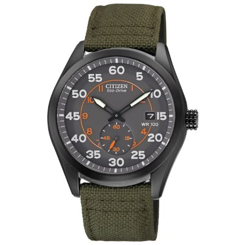 Citizen-Watch-Mens-Quartz-Watch-with-Grey-Dial-Analogue-Display-and-Green-Nylon