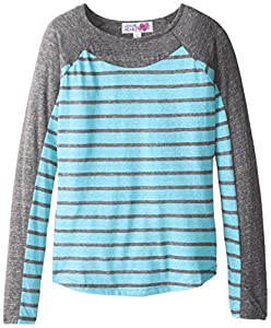 Derek Heart Big Girls' Long Sleeve Crew Neck with Striped Front, Grey/Turquoise, Large/14