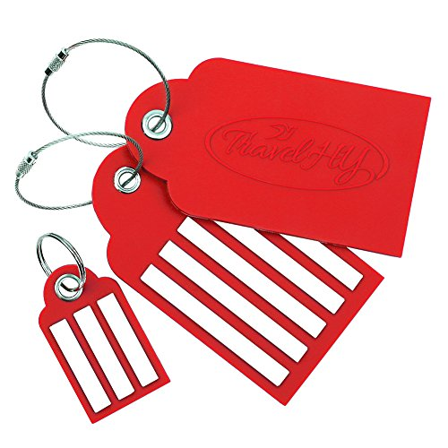TravelHY Luggage Tags, Easy To Write Wide Lines, Tough PVC 2 PK + 1 Free keychain, Red