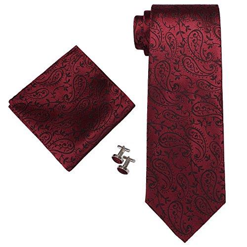 Landisun SILK Paisley Mens SILK Tie Set: Necktie+Hanky+Cufflinks 30C Burgundy, 3.25