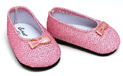 """Light Pink Glitter Shoes, Fits 18"""" American Girl Dolls, Doll Accessories from Sophia's"""