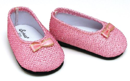 Light Pink Glitter Shoes, Fits 18 Inch American Girl Dolls, Doll Accessories - 1