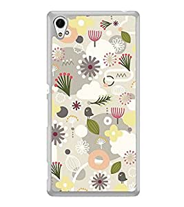 Grey White Flower Pattern 2D Hard Polycarbonate Designer Back Case Cover for Sony Xperia Z4