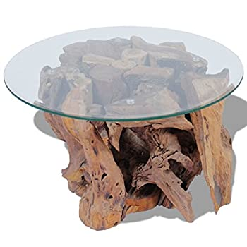 """Daonanba Unique Style Handmade Coffee Table Solid Teak Natural Home Furniture Durable Stable 23.6"""" Style B"""