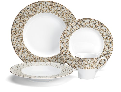 Cuisinart Aleria Brown Collection 16-Piece Porcelain Dinnerware Set