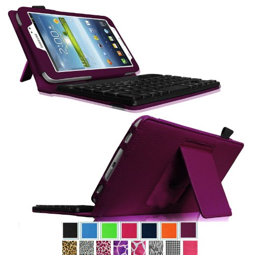 Fintie Folio Key Bluetooth Keyboard Case Cover For Samsung Galaxy Tab 3 7.0 Inch Tablet With Abs Hard Material Removable Wireless Keyboard - Purple
