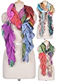Mango Gifts Indian Silk Fashion Scarves Multi-Color Frill Scarf Wraps