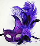 Halloween Purple Feather Half Face Mask