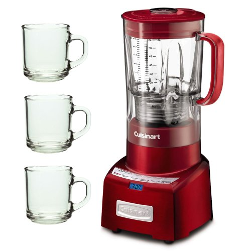 Cuisinart PowerEdge 1.3 Horsepower Blender with 64-Ounce BPA Free Jar,Red with 3 Pcs 10oz Handy Glass Coffee Mug