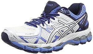 Asics Gel-kayano 21, Chaussures de Running Entrainement Femme - Blanc (white/silver/powder Blue 0193), 37 EU