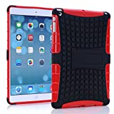 A Fashion Case Shop Ipad Air Case, Ipad Air Case Cover - Ipad 5 Shock-absorption / Impact Resistant Hybrid Dual Layer Armor Defender Protective Case Cover with Built-in Kickstand for Apple Ipad Air 5th Gen 2013 (Three Month Warranty) (Gift for Screen Protector Film and Clean Cloth) (ipad air red)