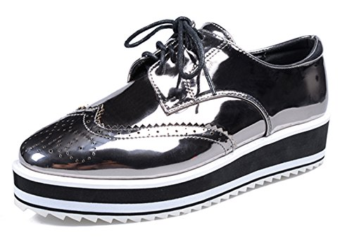 DADAWEN Women's Casual Lace-Up Platform Wingtips Square Toe Oxfords shoe Gray US Size 5.5