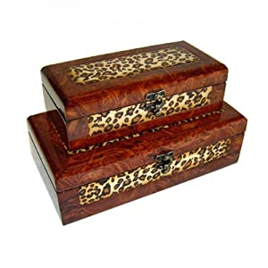 Cheung's Rattan Imports Wooden Lined Boxes, 11.5 by 5.75-Inch, Set of 2