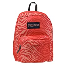 JanSport Superbreak Backpack (Pink Prep/Coral Sparkle Flashback Zebra)