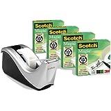 Scotch C60-ST4 Tischabroller, inkl. 4 Rollen Scotch MagicTape 810, silber/schwarz