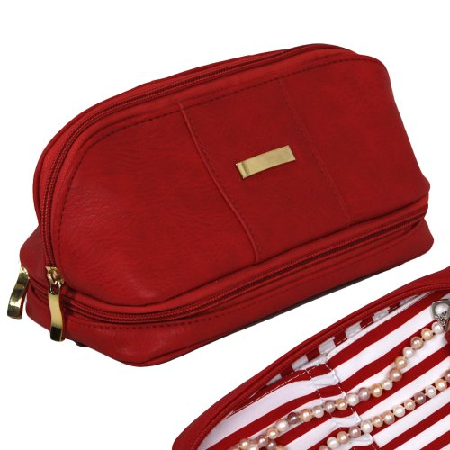 Bucasi The Weekender - Personal Travel Makeup and Jewelry Case and Organizer with Matching Removable Mirror in Red and Pin Stripe In... at Sears.com