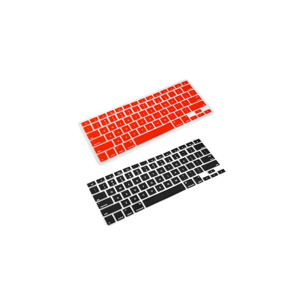 GTMax Silicone Keyboard Cover Case Skin for Apple MacBook 2G Air/Pro (Black / Red )