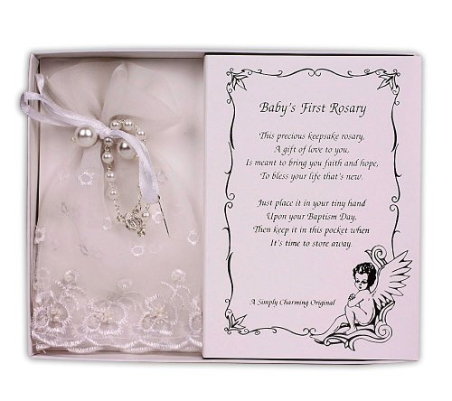 Pearl Baby Baptism Rosary with Lace Bag (White)