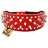 """17""""-20"""" Red Faux Leather Spiked Studded Dog Collar 2"""" Wide, 31 Spikes 52 Studs"""